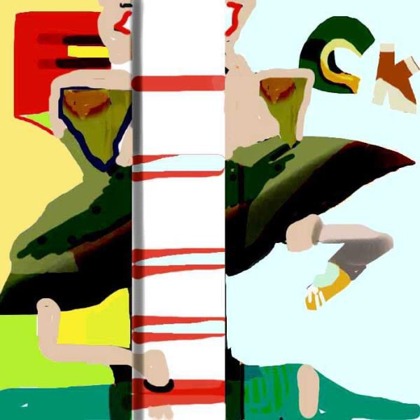An abstract photoshop artwork in white, red, yellow, black, blue, and green. This image is of a rectangular column traversing top to bottom of the square space and almost in the center. It in effect divides a female figure, who can be seen on either side of the column. She is dancing, her dress floating. To the left side of her is yellow; to her right is blue.