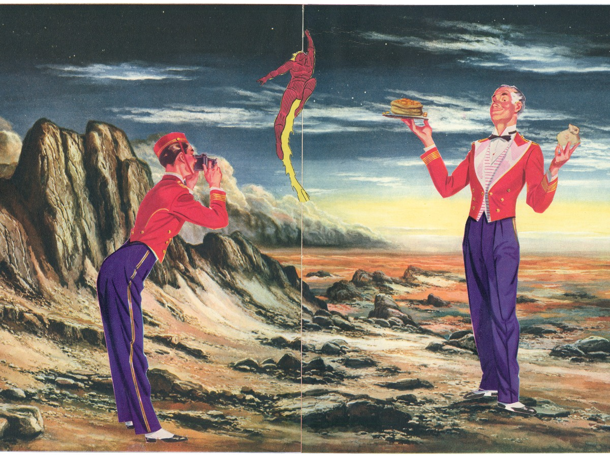 A mixed-media collage on paper with a red martian landscape and cartoon figures of a white man taking a photo of another white man holding a stack of pancakes and change purse, a white businessman a little white boy in a dunce hat, another white kid giggling and batman's head.