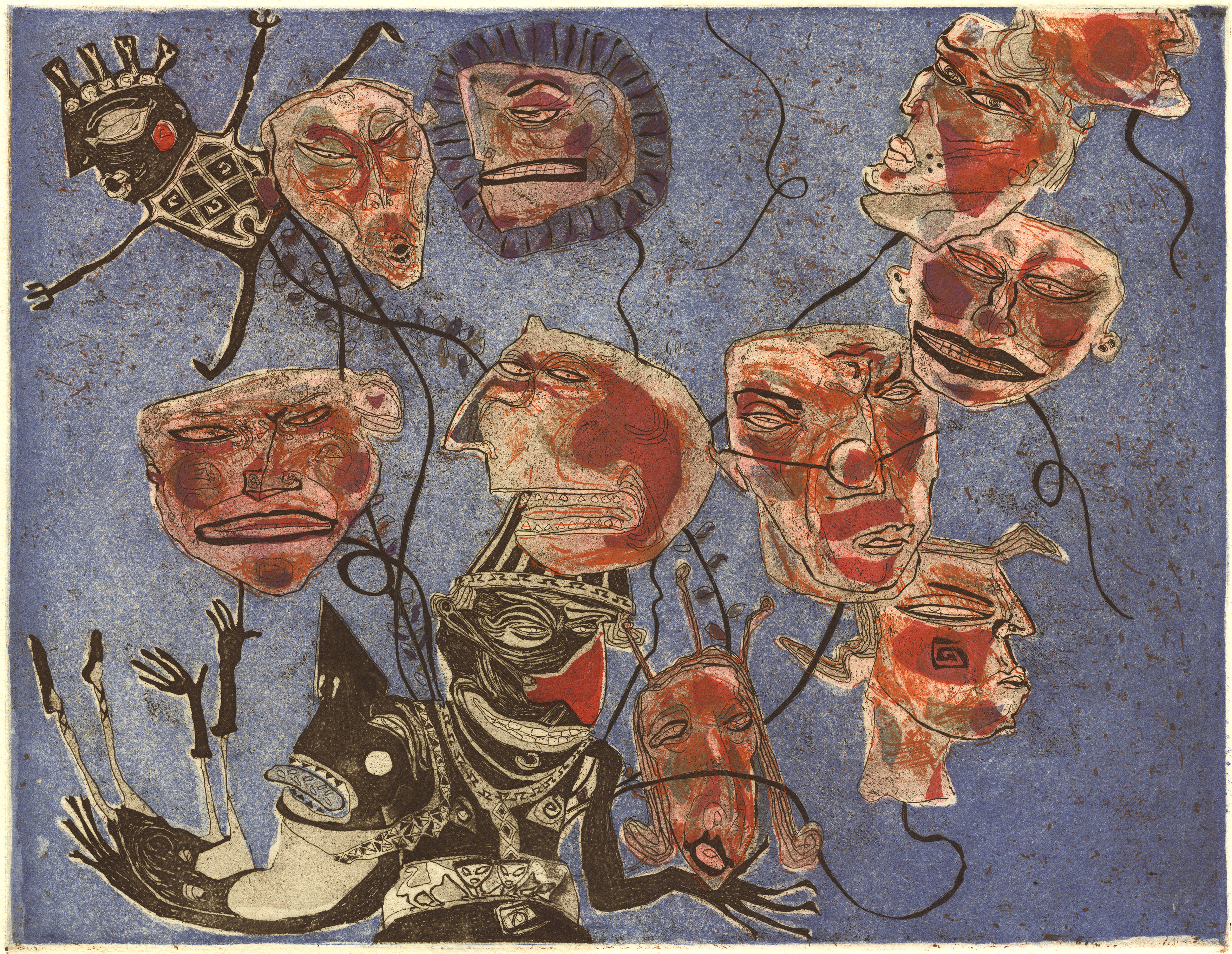 A small etching in black, blues and a range of reds and oranges showing a playful yet sinister interpretation of a two characters. One as the seller of balloons, seen as heads on strings and the other as the accomplice about to pop one of the balloon heads.