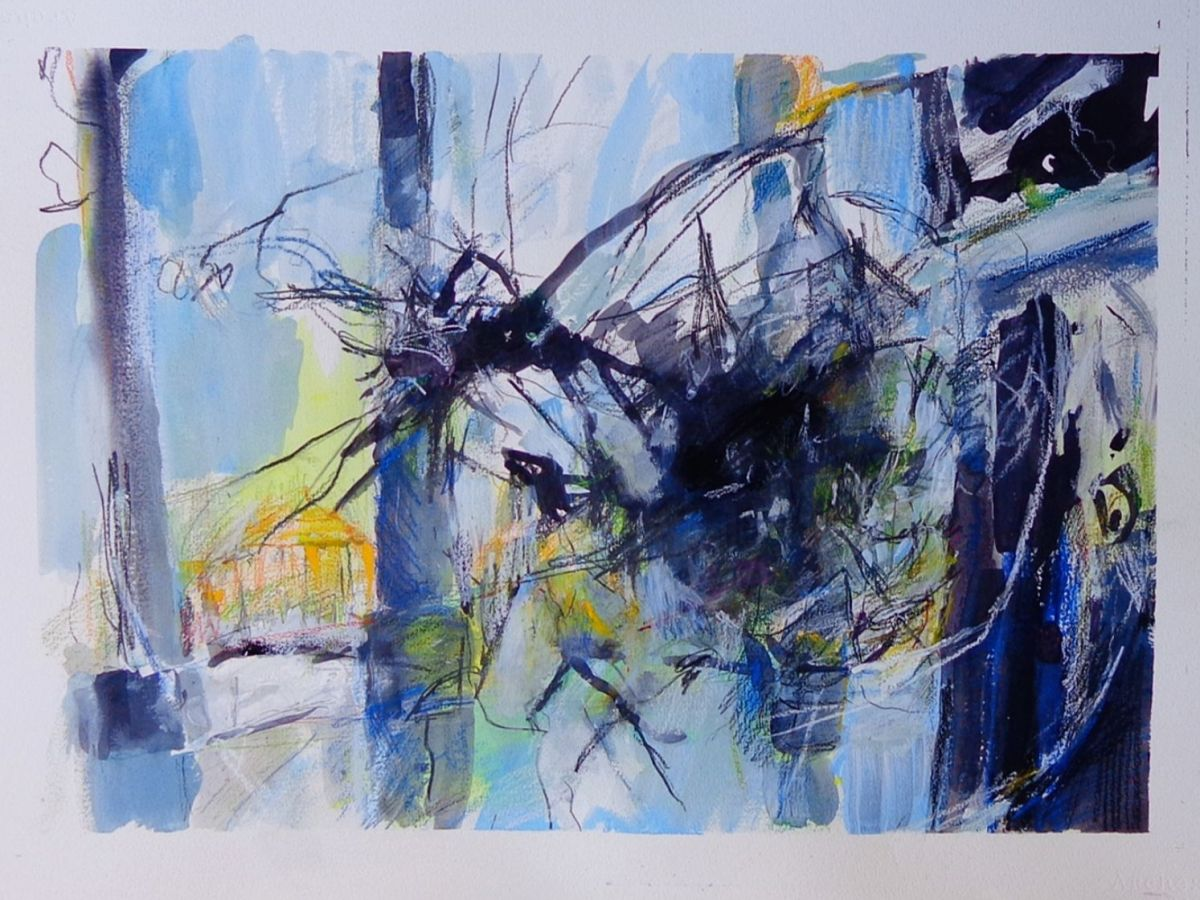 An abstract portrayal of the Capitol created with ink, gesso, graphite, colored pencil and pastel on watercolor paper, mostly in shades of blue, yellow and orange.