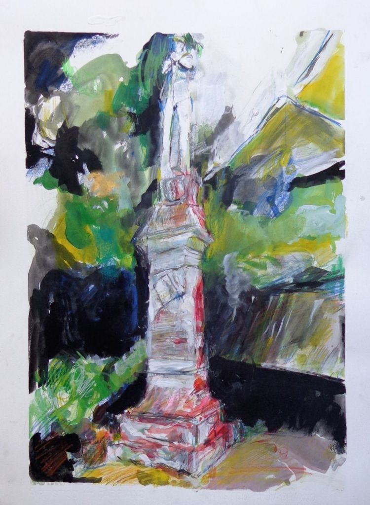 An abstracted watercolor painting of a confederate monument in black, grey, green, yellow and red.