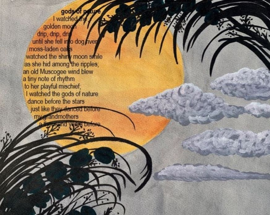 An artwork-poem hybrid with the words of the poem inside a yellow moon against a grey sky, with fluffy grey clouds and silhouettes of branches in the foreground. See below for accessible file.