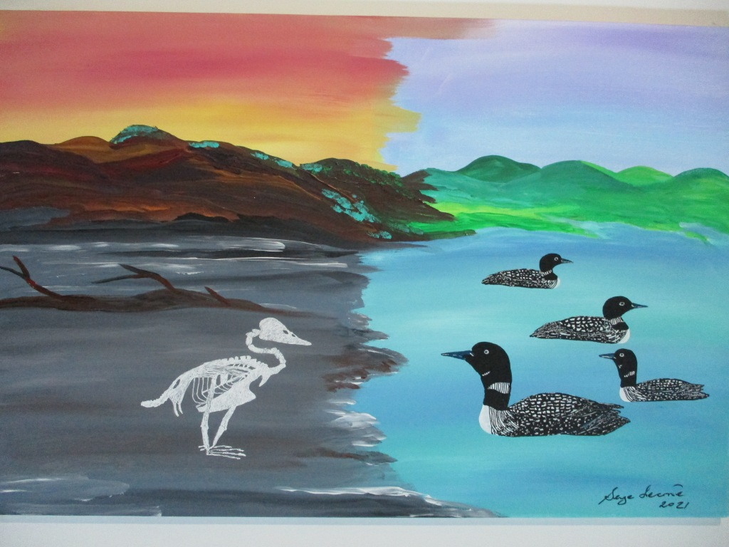 I still have hope is an acrylic painting of nature. The painting is divided in two parts. One depicts several loons on a colorful greenish lake beneath green hills. The second part is dark grey silt beneath brown mountains. In the center of this scene stands the skeleton of a large loon.