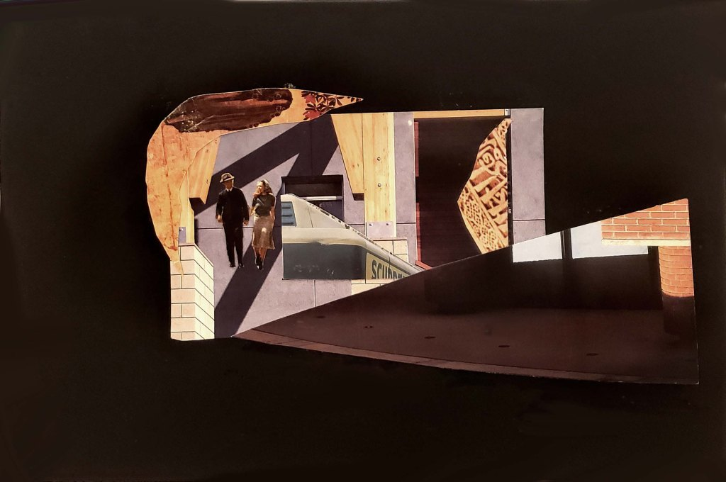 A small collage which has a skewed, interconnected architectural images, in shades of brown, placed in the center of a depiction of deep black negative space. Within the geometry of the central image two small characters, a man and a woman are walking casually towards the viewer seemingly unaware of the oddity of their somewhat ominous surroundings. They are headed somewhere as in a dream.