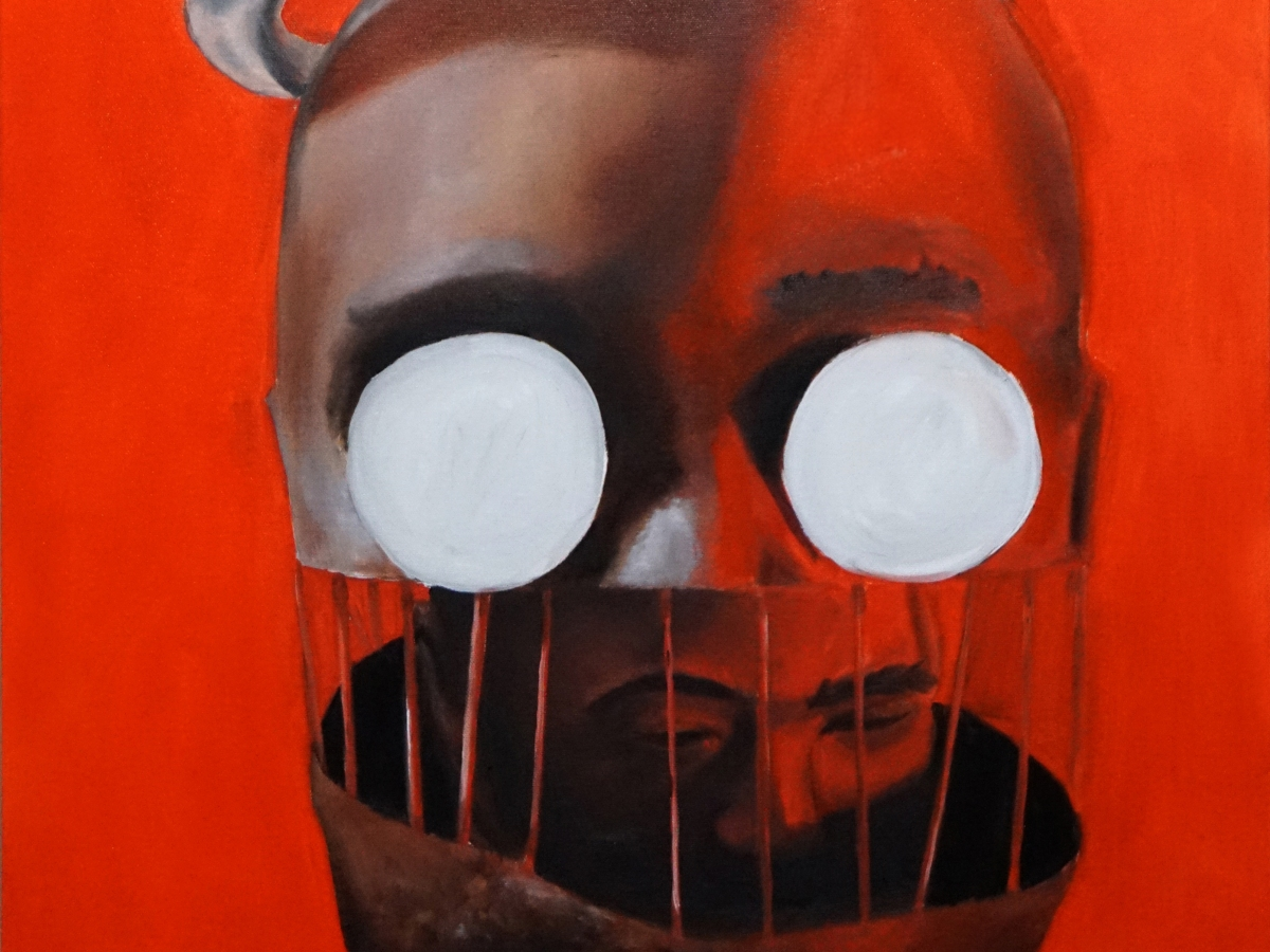 Oil painted on fabric canvas of a man's head nested in a large version of his own head but trapped by bars with white dots over the of shell eyes with a silver halo over the shell head.
