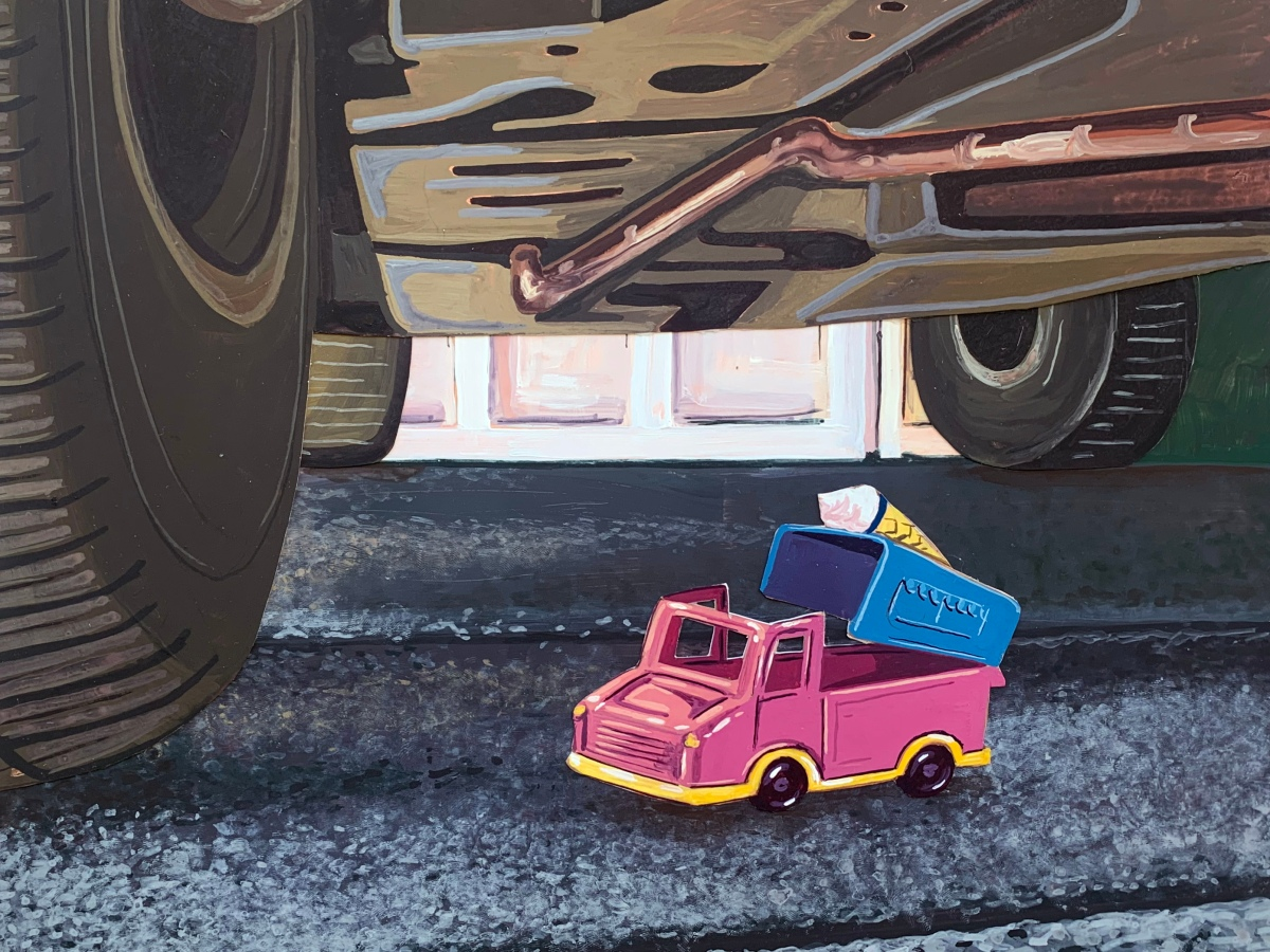 A digital painting of the back wheel of a truck, viewed fom under the truck, and a tiny pink toy truck sitting beneath the larger truck.