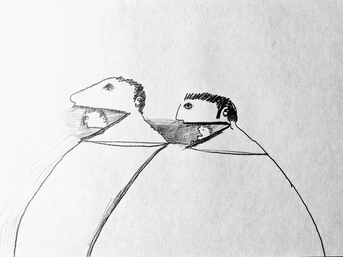 A drawing with grey lead and black pen on paper featuring two tiny caricatures of men coming out of two larger versions of their own heads.