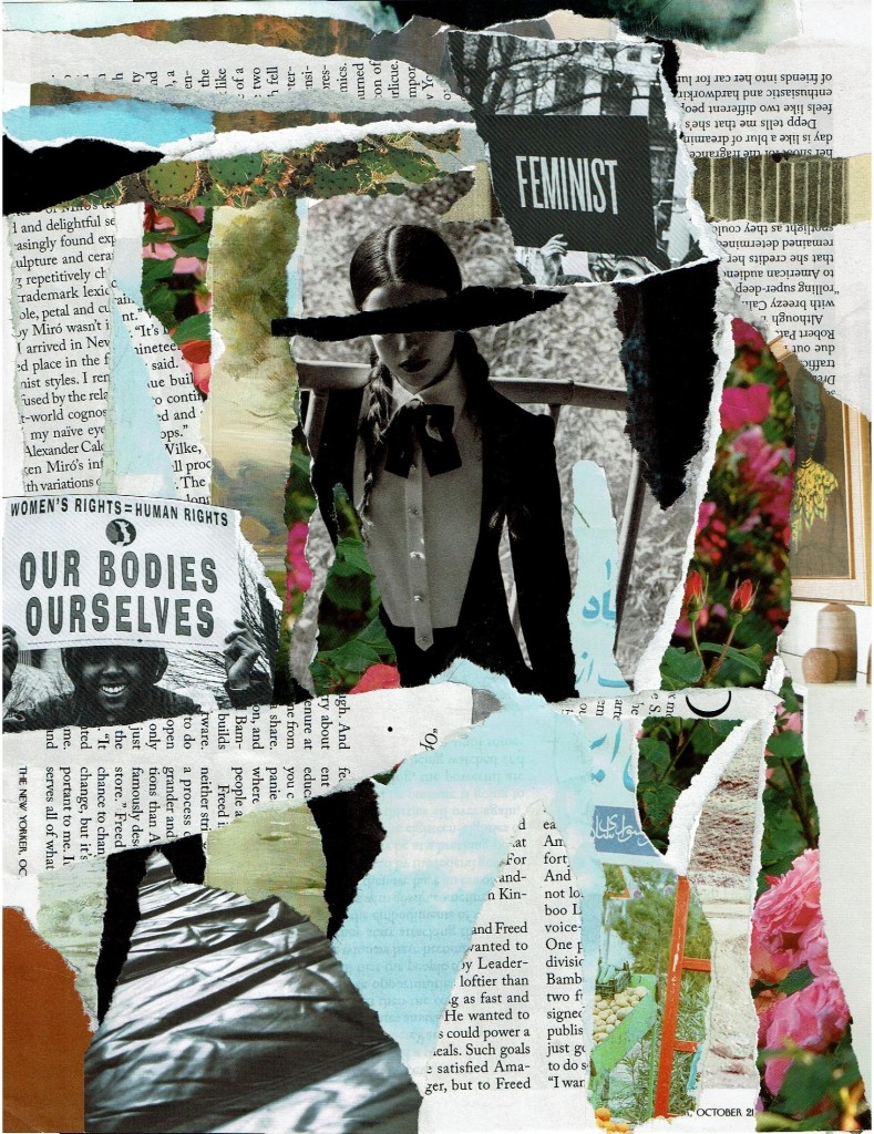Mixed-media collage, featuring text, photos, and illustration. Color variation throughout.